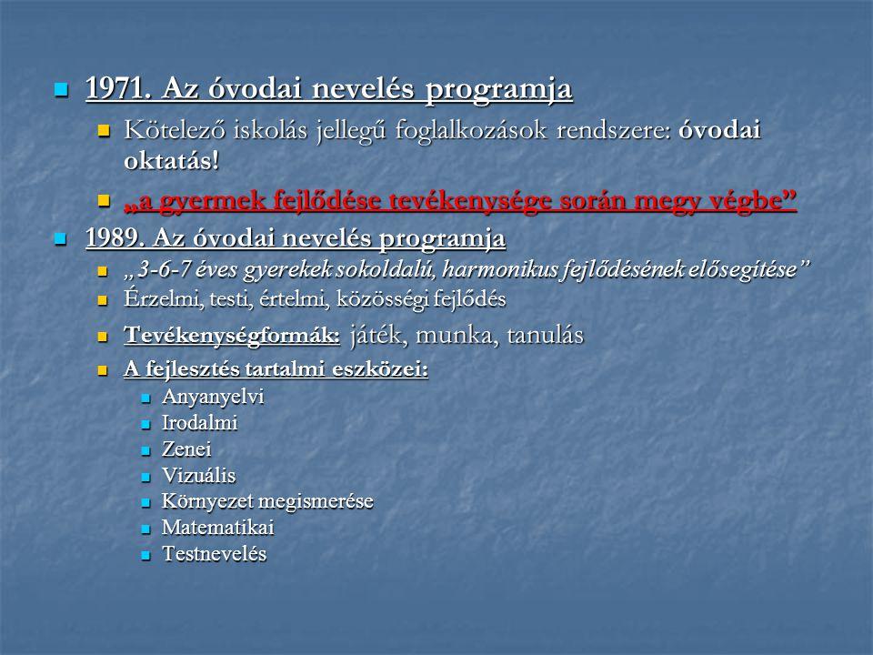 1971. Az óvodai nevelés programja