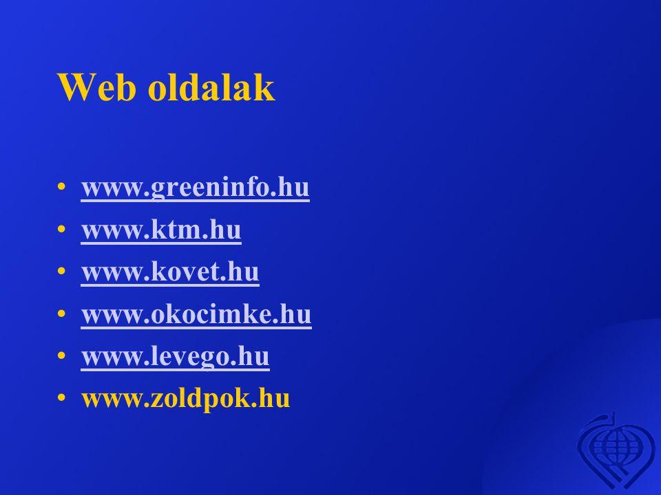 Web oldalak www.greeninfo.hu www.ktm.hu www.kovet.hu www.okocimke.hu
