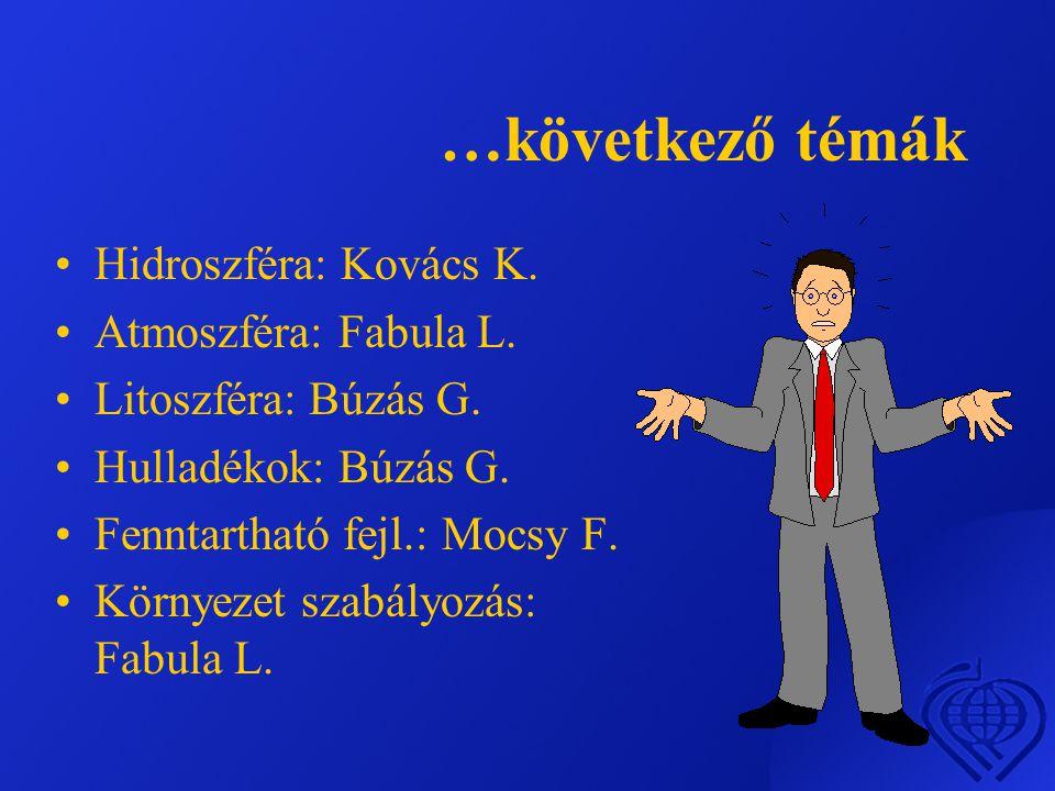 …következő témák Hidroszféra: Kovács K. Atmoszféra: Fabula L.