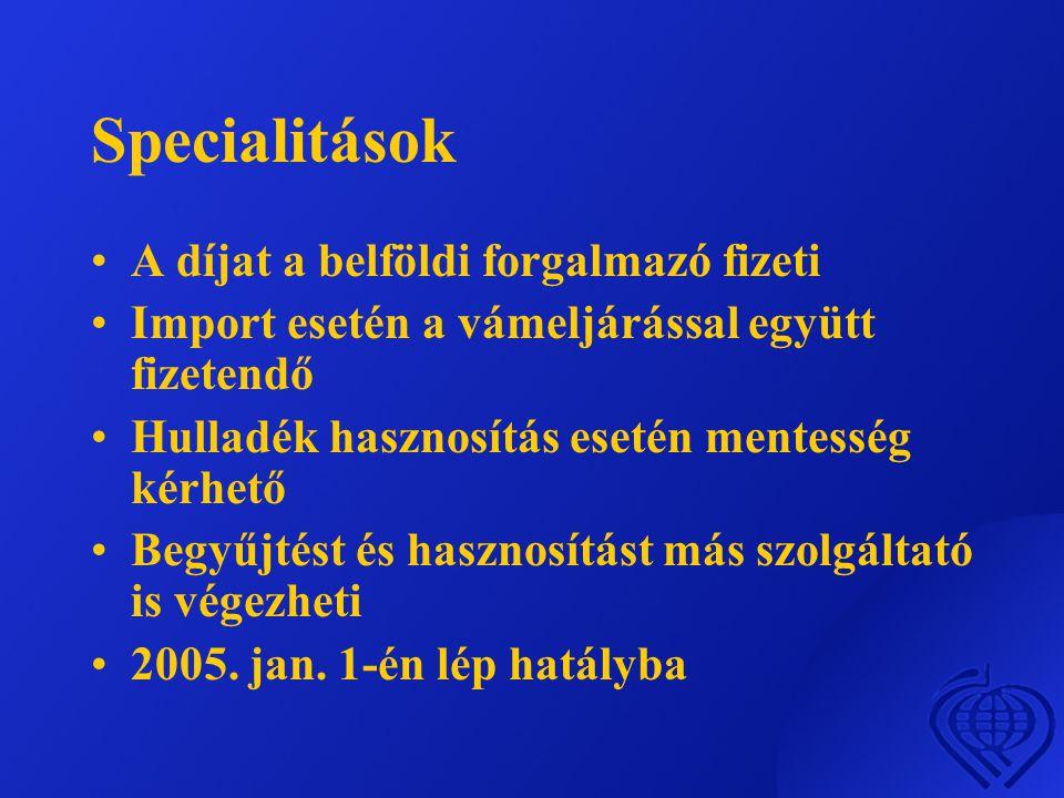 Specialitások A díjat a belföldi forgalmazó fizeti