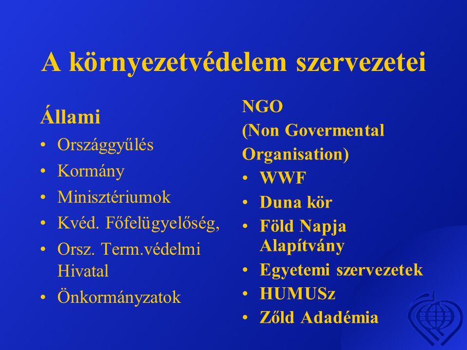 A környezetvédelem szervezetei