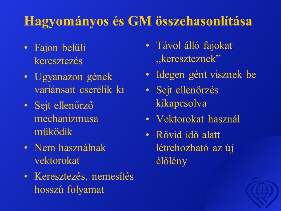 Hagyományos és GM összehasonlítása