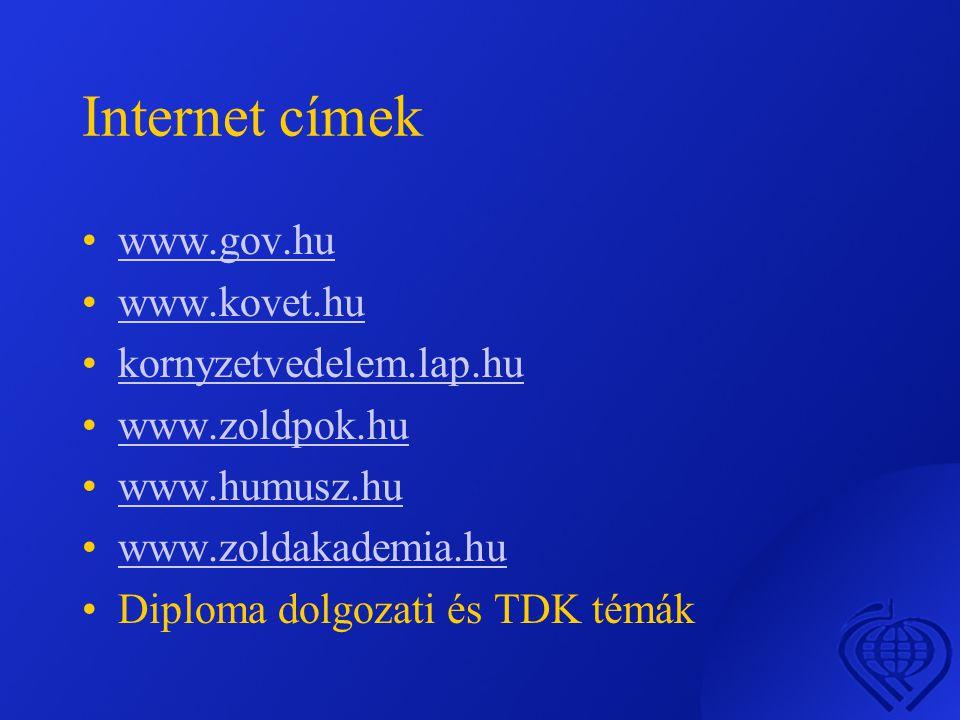 Internet címek www.gov.hu www.kovet.hu kornyzetvedelem.lap.hu