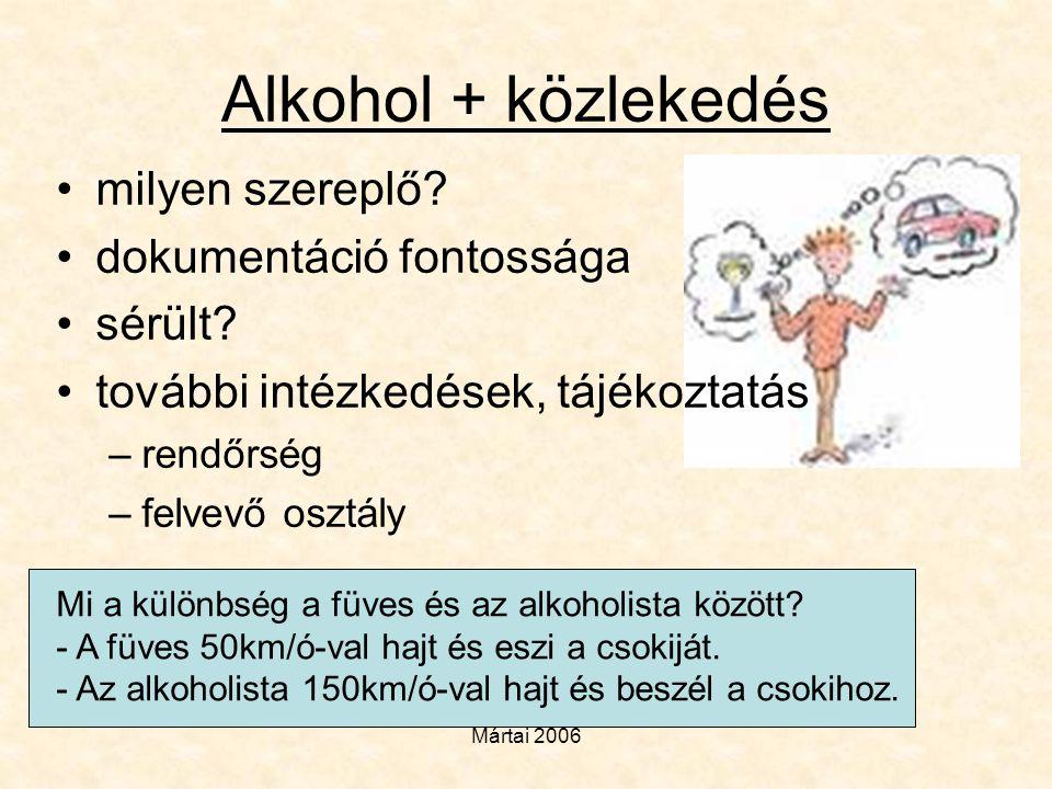 Alkohol + közlekedés milyen szereplő dokumentáció fontossága sérült