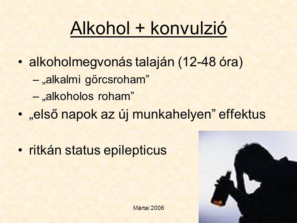 Alkohol + konvulzió alkoholmegvonás talaján (12-48 óra)
