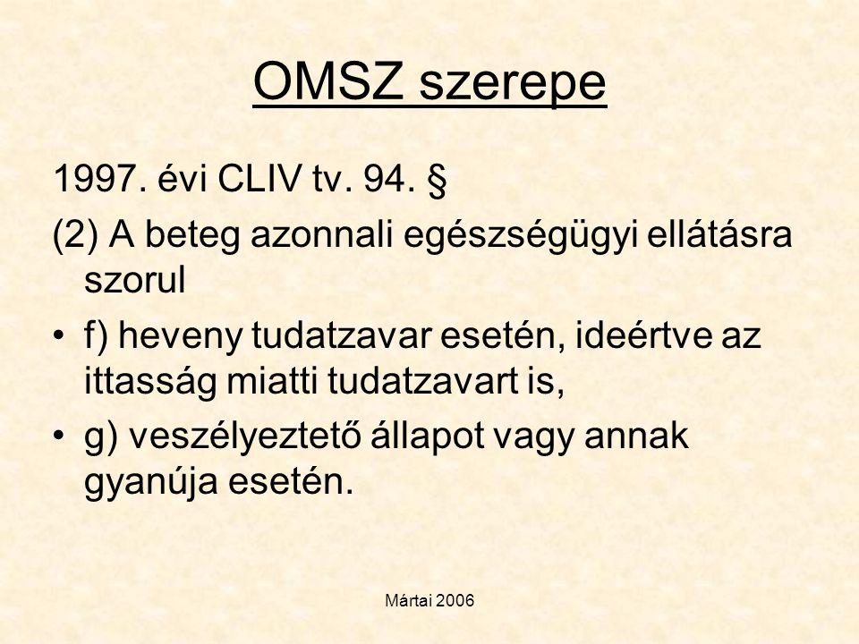 OMSZ szerepe 1997. évi CLIV tv. 94. §