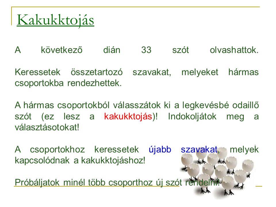 Kakukktojás A következő dián 33 szót olvashattok. Keressetek összetartozó szavakat, melyeket hármas csoportokba rendezhettek.