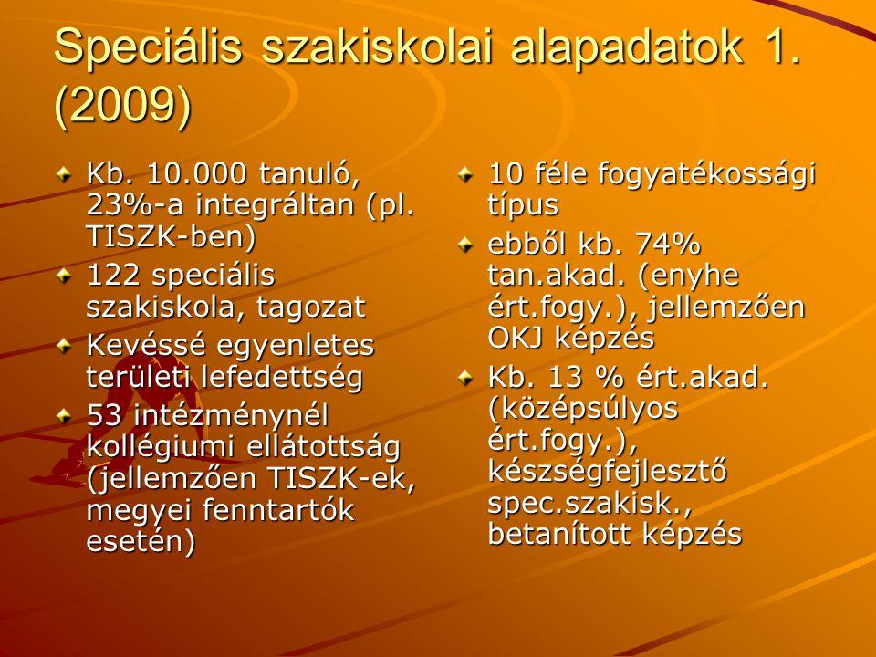 Speciális szakiskolai alapadatok 1. (2009)