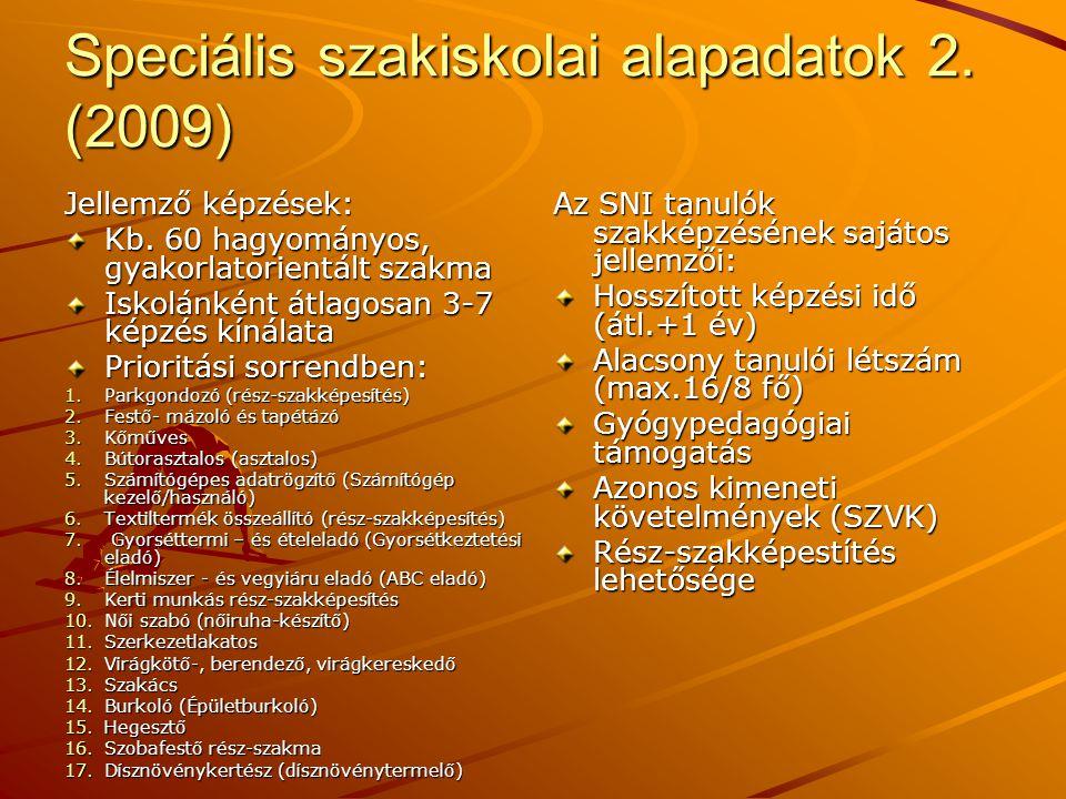 Speciális szakiskolai alapadatok 2. (2009)