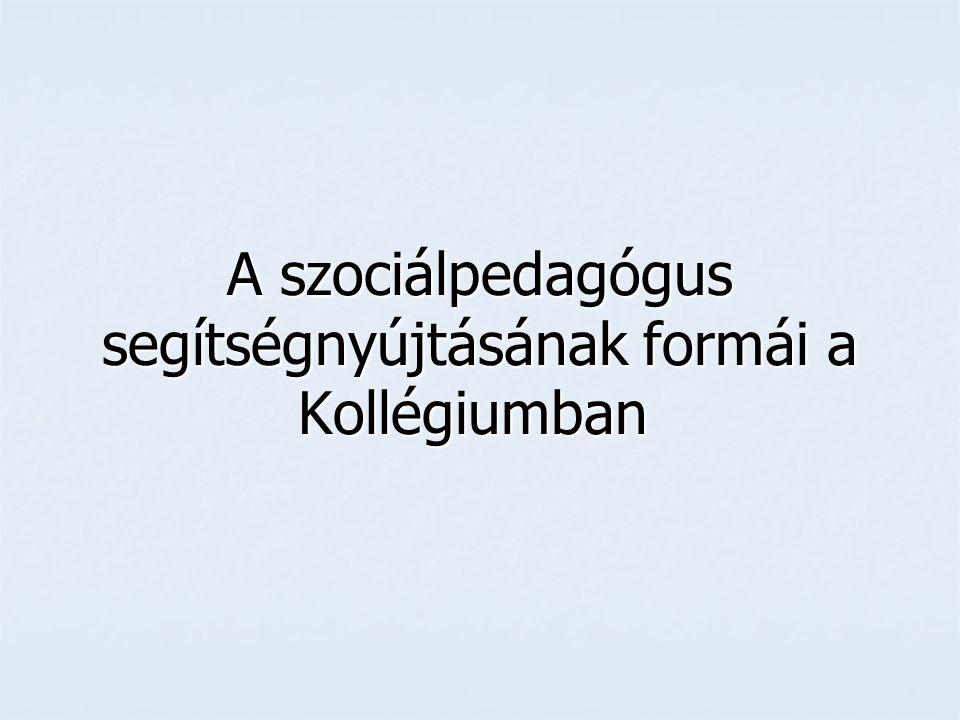 A szociálpedagógus segítségnyújtásának formái a Kollégiumban