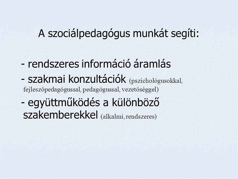 A szociálpedagógus munkát segíti: - rendszeres információ áramlás - szakmai konzultációk (pszichológusokkal, fejleszőpedagógussal, pedagógussal, vezetőséggel) - együttműködés a különböző szakemberekkel (alkalmi, rendszeres)