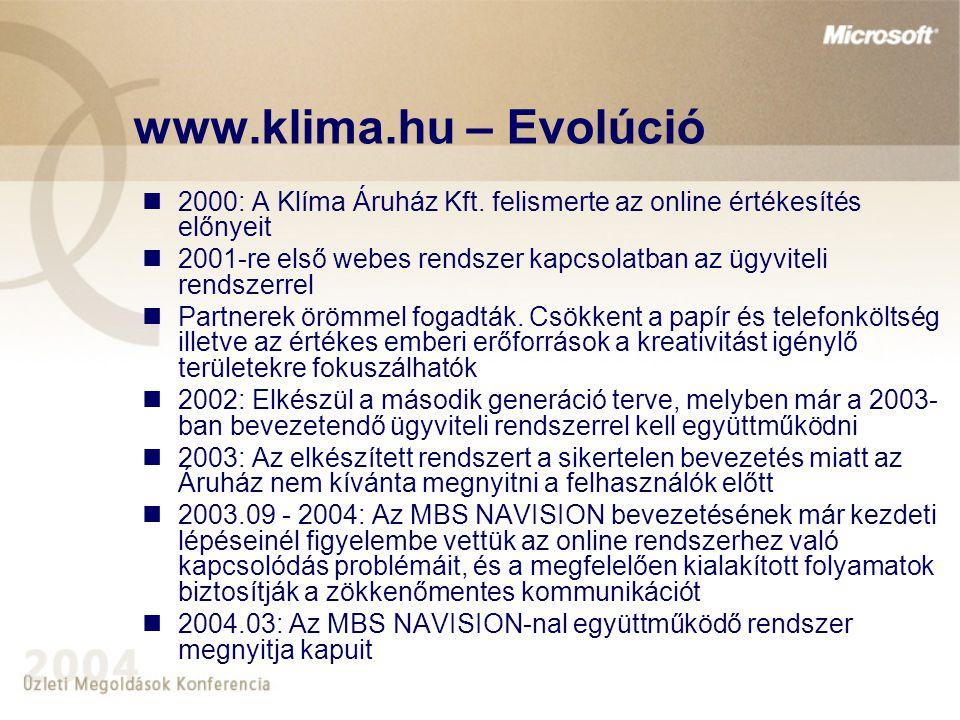 www.klima.hu – Evolúció 2000: A Klíma Áruház Kft. felismerte az online értékesítés előnyeit.