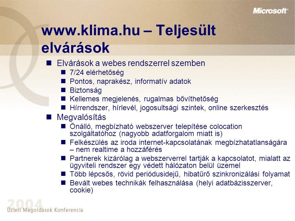 www.klima.hu – Teljesült elvárások