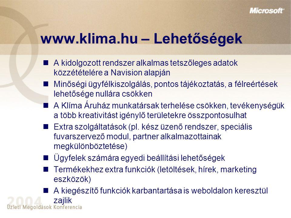 www.klima.hu – Lehetőségek