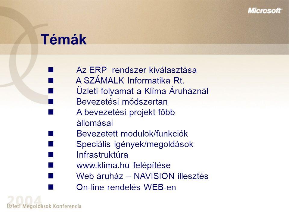 Témák Az ERP rendszer kiválasztása A SZÁMALK Informatika Rt.