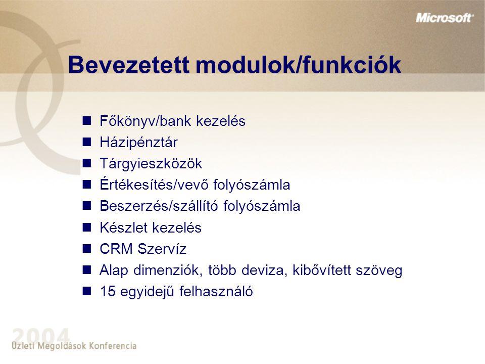 Bevezetett modulok/funkciók