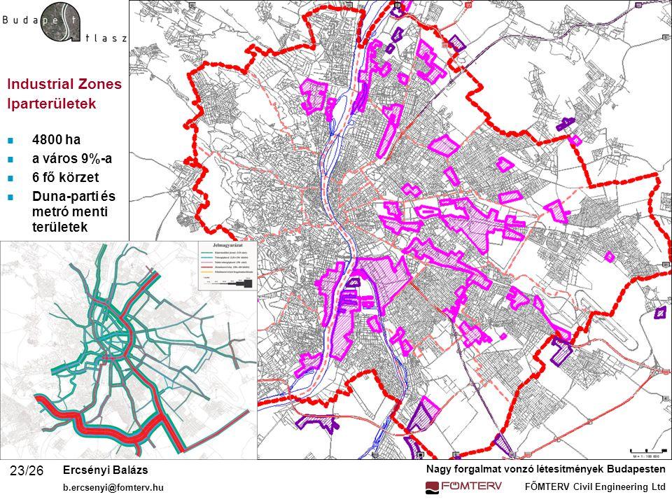 Industrial Zones Iparterületek 4800 ha a város 9%-a 6 fő körzet
