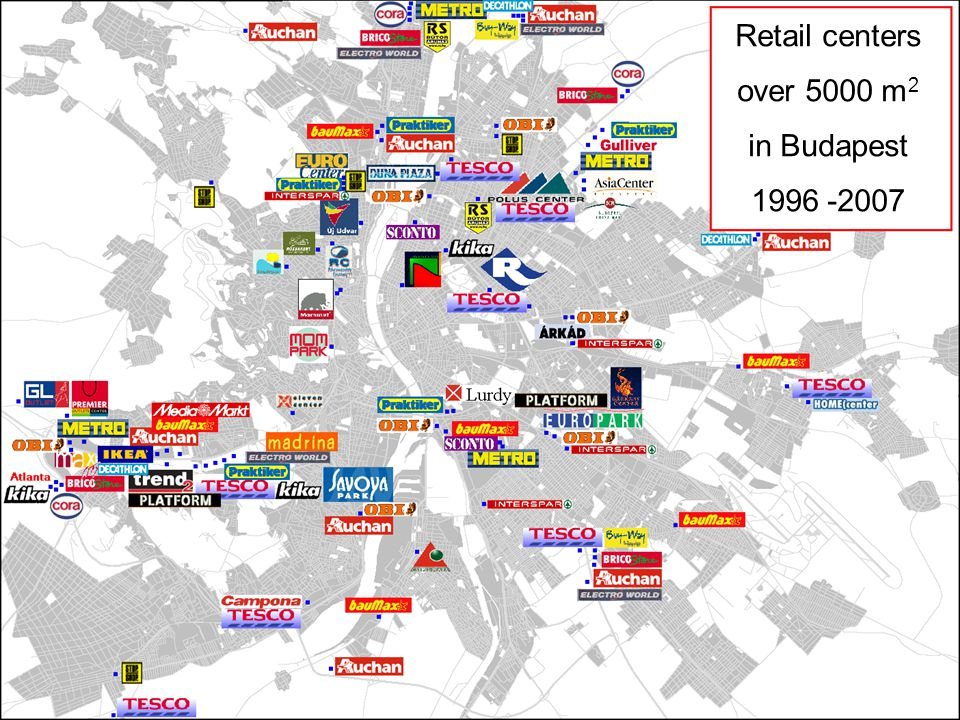 Retail centers over 5000 m2 in Budapest 1996 -2007