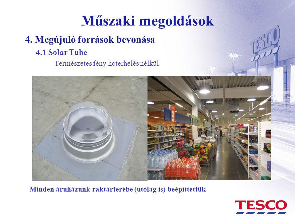 Műszaki megoldások 4. Megújuló források bevonása 4.1 Solar Tube