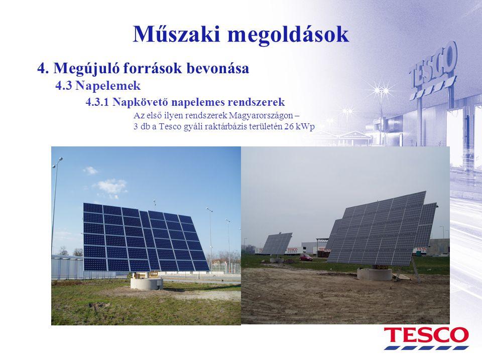 Műszaki megoldások 4. Megújuló források bevonása 4.3 Napelemek