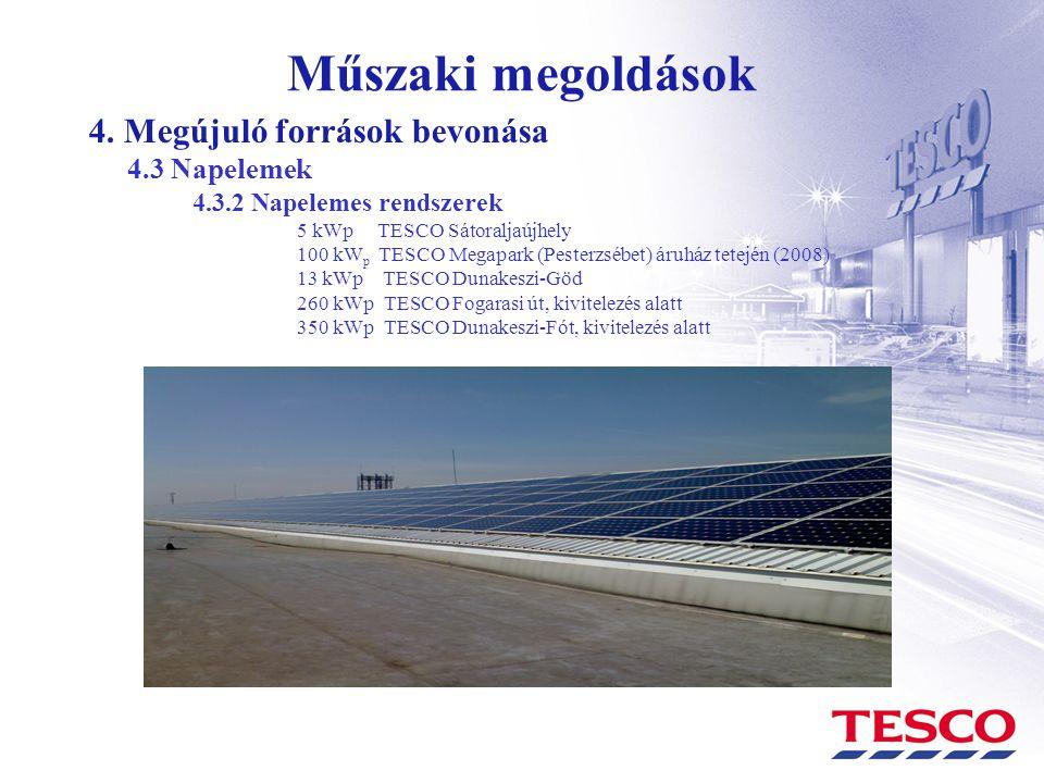 Műszaki megoldások 4. Megújuló források bevonása