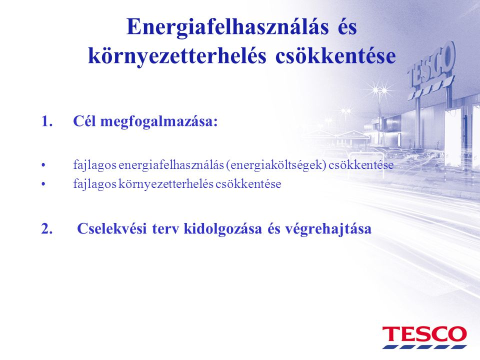 Energiafelhasználás és környezetterhelés csökkentése