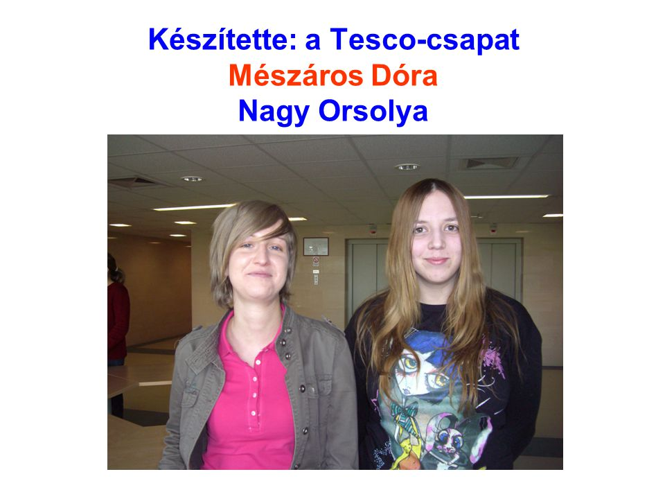 Készítette: a Tesco-csapat Mészáros Dóra Nagy Orsolya