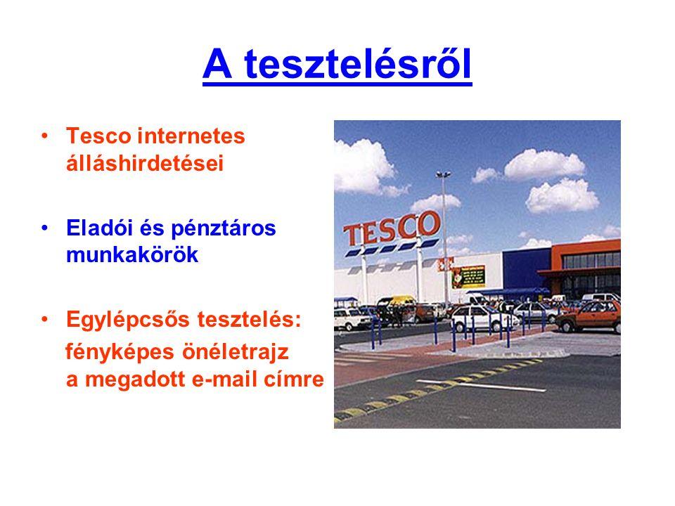 A tesztelésről Tesco internetes álláshirdetései
