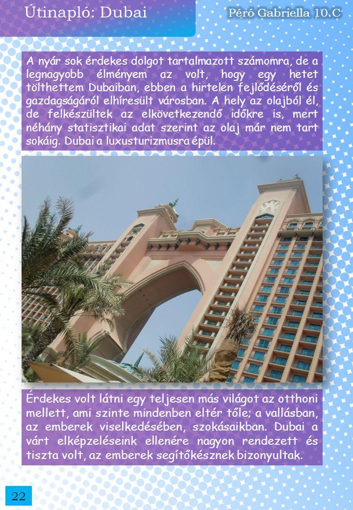 Útinapló: Dubai Péró Gabriella 10.C
