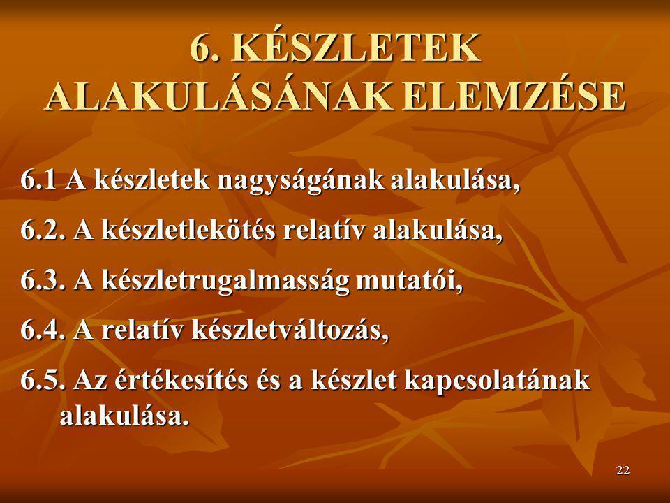 6. KÉSZLETEK ALAKULÁSÁNAK ELEMZÉSE