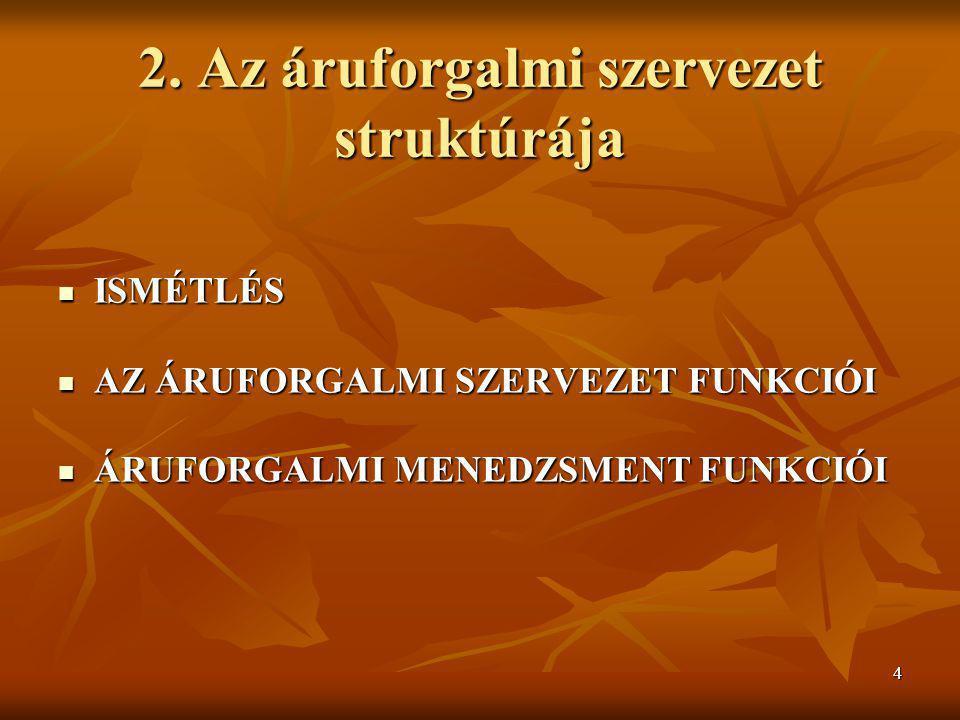 2. Az áruforgalmi szervezet struktúrája