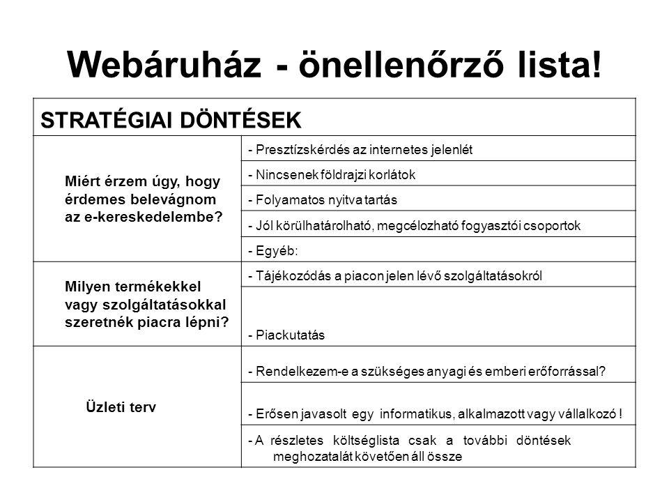 Webáruház - önellenőrző lista!