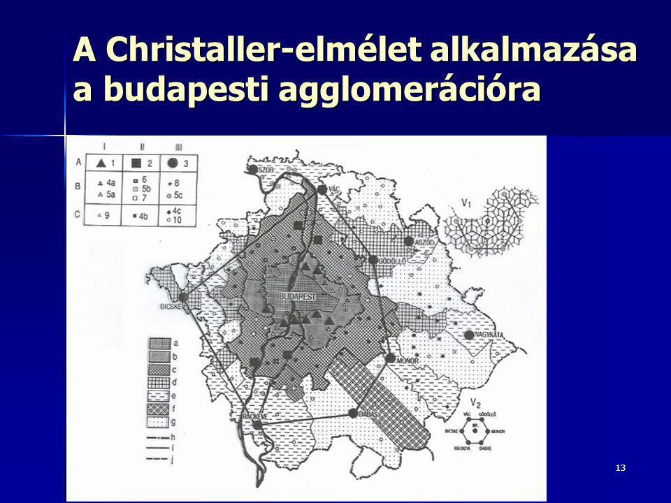 A Christaller-elmélet alkalmazása a budapesti agglomerációra