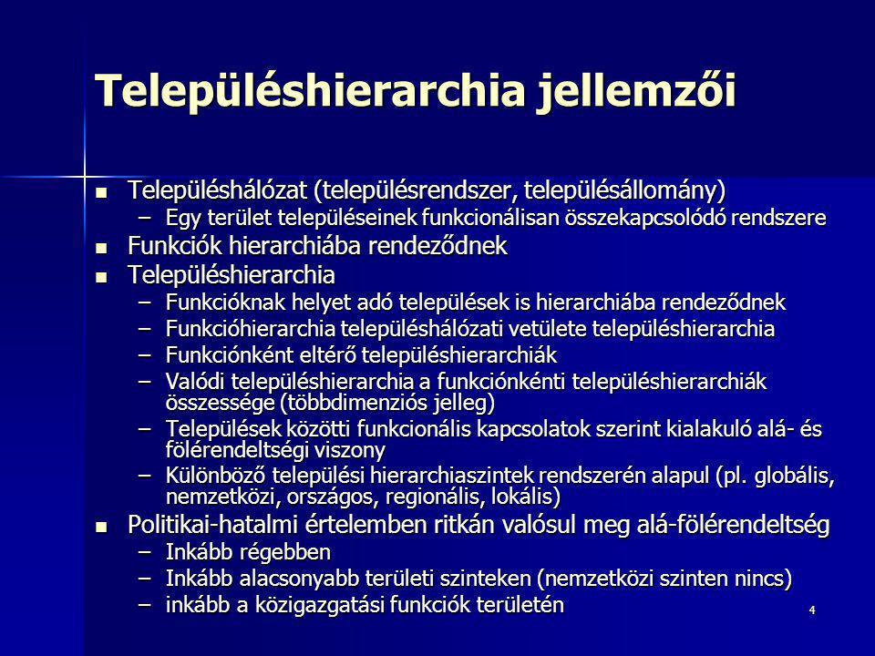 Településhierarchia jellemzői