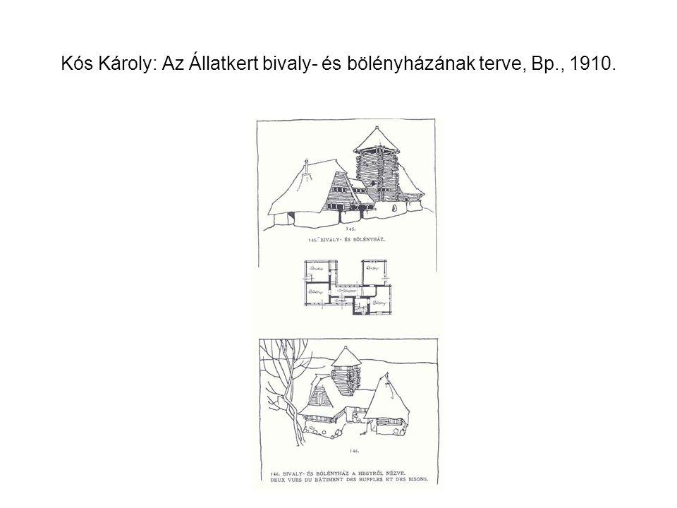 Kós Károly: Az Állatkert bivaly- és bölényházának terve, Bp., 1910.
