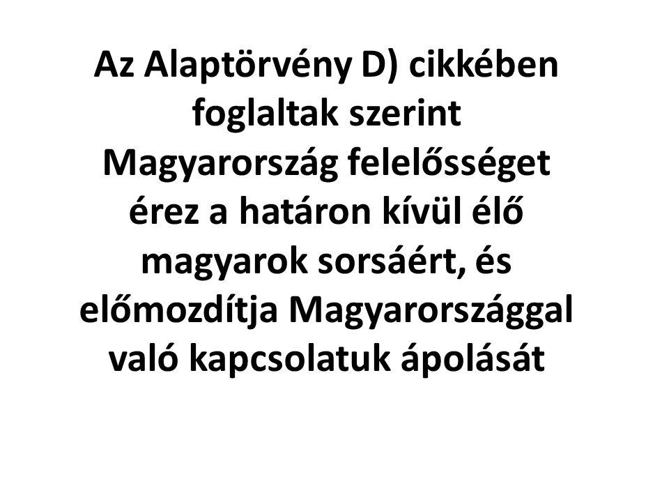 Az Alaptörvény D) cikkében foglaltak szerint Magyarország felelősséget érez a határon kívül élő magyarok sorsáért, és előmozdítja Magyarországgal való kapcsolatuk ápolását