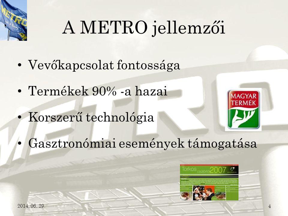 A METRO jellemzői Vevőkapcsolat fontossága Termékek 90% -a hazai
