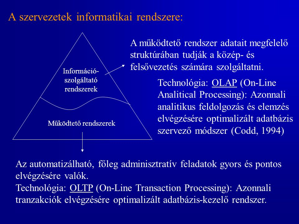 A szervezetek informatikai rendszere: