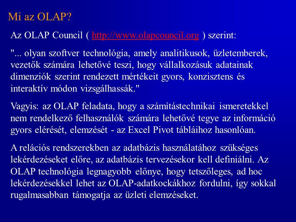 Mi az OLAP Az OLAP Council ( http://www.olapcouncil.org ) szerint: