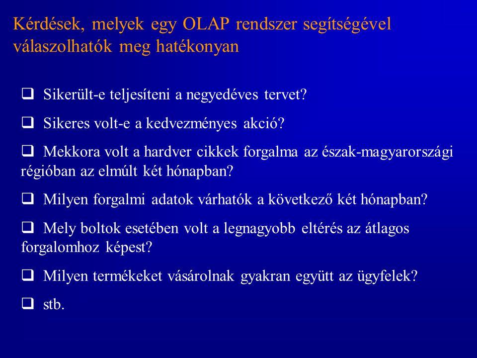 Kérdések, melyek egy OLAP rendszer segítségével válaszolhatók meg hatékonyan