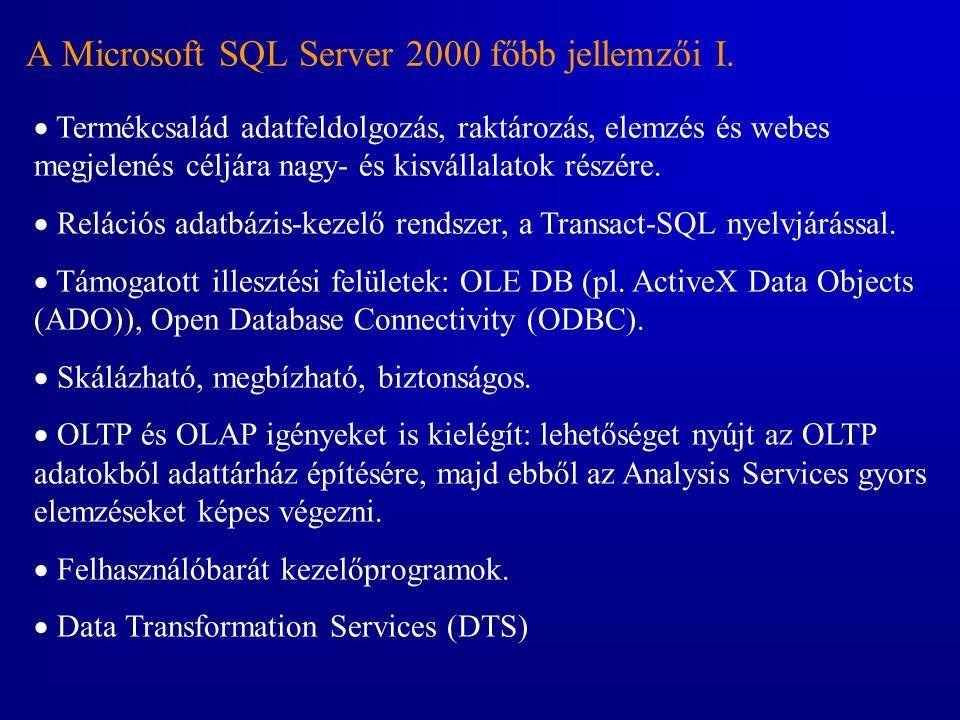 A Microsoft SQL Server 2000 főbb jellemzői I.
