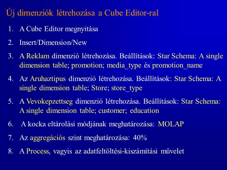 Új dimenziók létrehozása a Cube Editor-ral