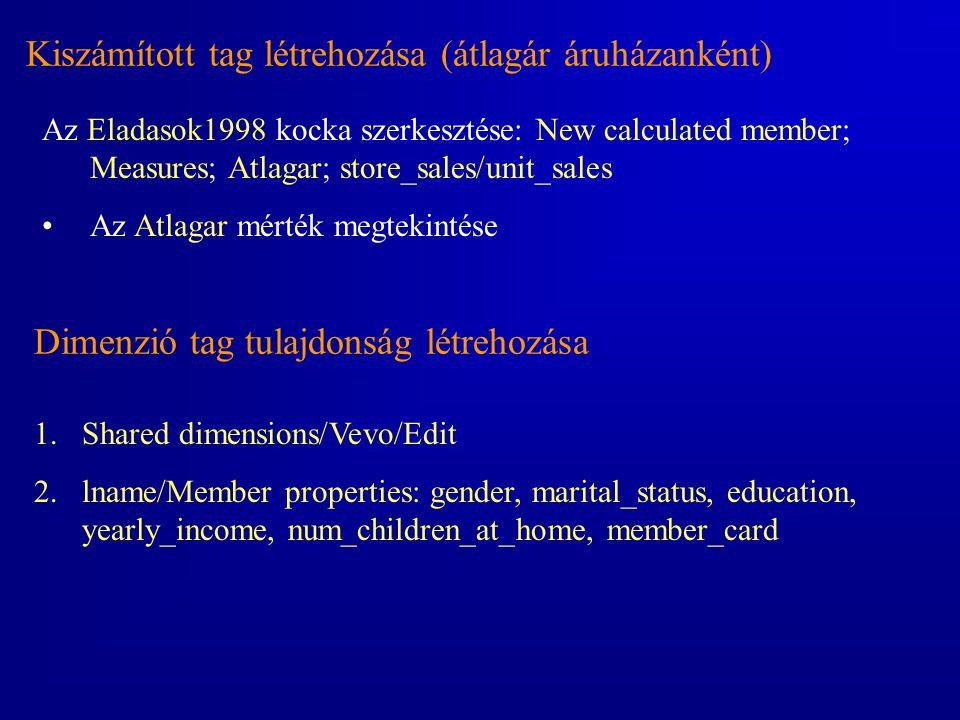 Kiszámított tag létrehozása (átlagár áruházanként)