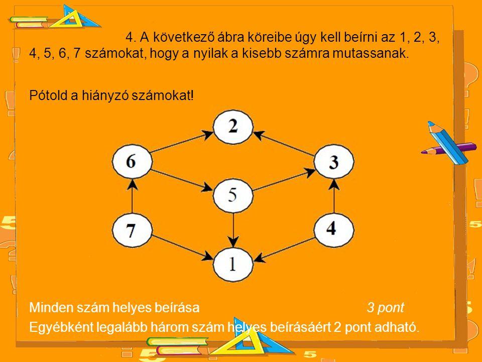 4. A következő ábra köreibe úgy kell beírni az 1, 2, 3, 4, 5, 6, 7 számokat, hogy a nyilak a kisebb számra mutassanak.