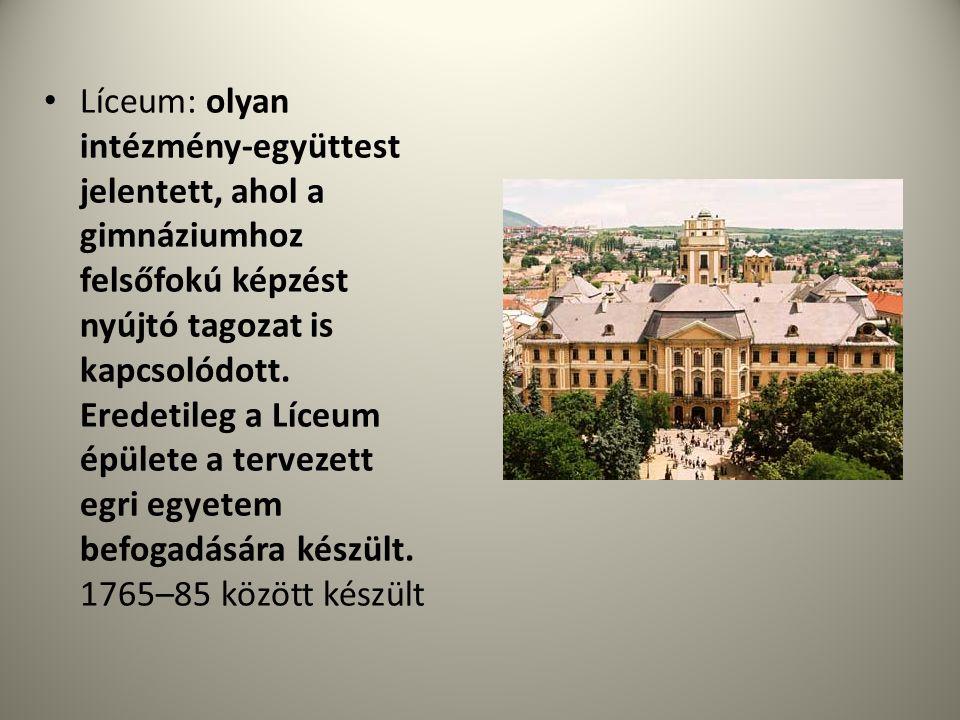 Líceum: olyan intézmény-együttest jelentett, ahol a gimnáziumhoz felsőfokú képzést nyújtó tagozat is kapcsolódott.