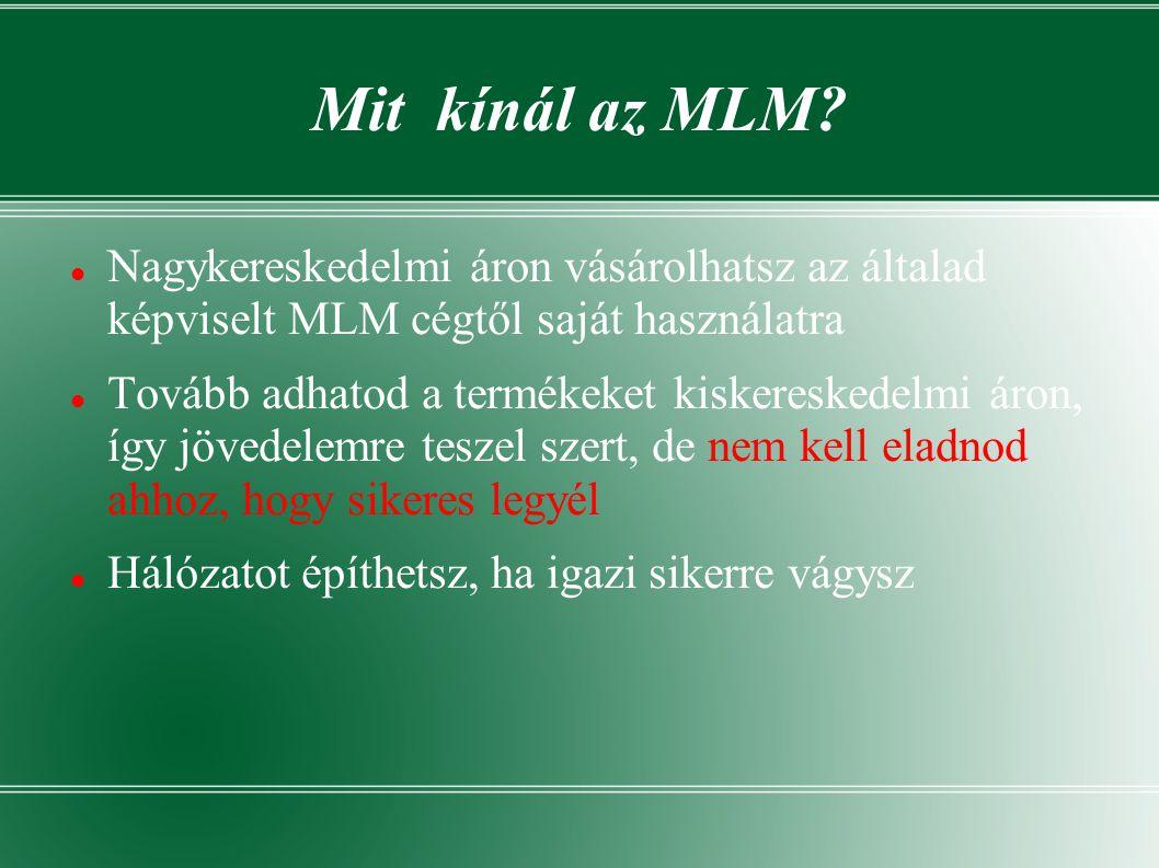 Mit kínál az MLM Nagykereskedelmi áron vásárolhatsz az általad képviselt MLM cégtől saját használatra.