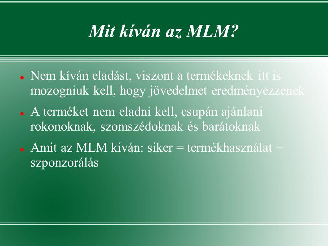 Mit kíván az MLM Nem kíván eladást, viszont a termékeknek itt is mozogniuk kell, hogy jövedelmet eredményezzenek.