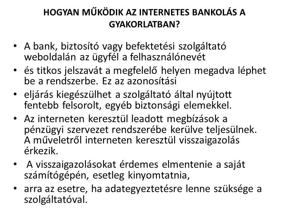 HOGYAN MŰKÖDIK AZ INTERNETES BANKOLÁS A GYAKORLATBAN