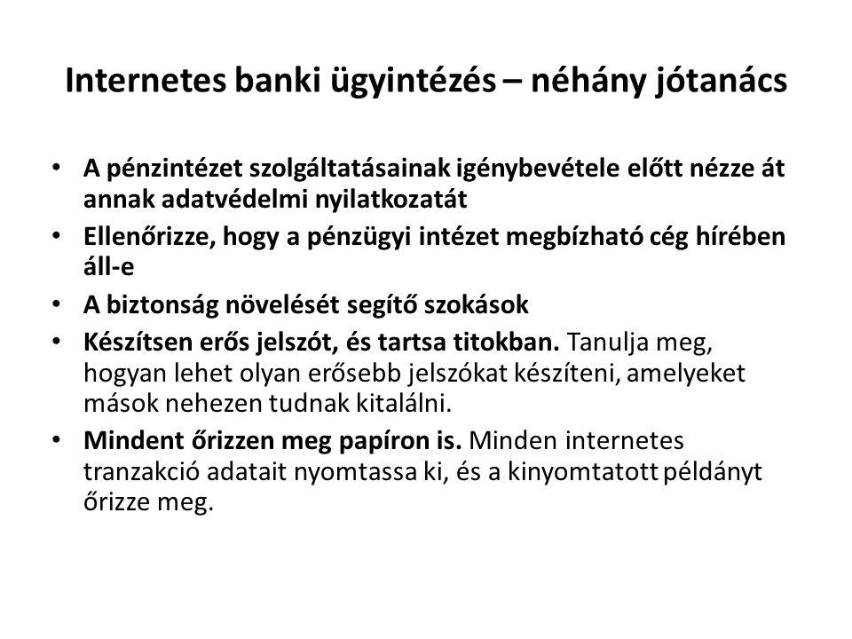Internetes banki ügyintézés – néhány jótanács