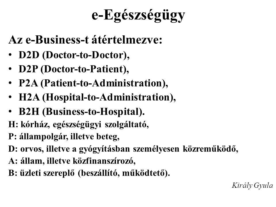 e-Egészségügy Az e-Business-t átértelmezve: D2D (Doctor-to-Doctor),